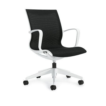 Global Solar Chair - White Frame/Black Mesh